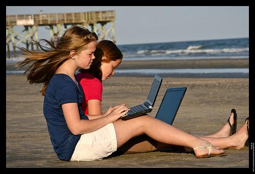 Homework on the beach
