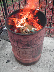 trash can fire